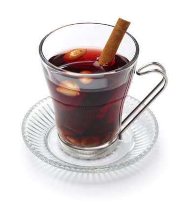 mulled wine spice: glogg, scandinavian mulled wine and traditional christmas hot beverage isolated on white background