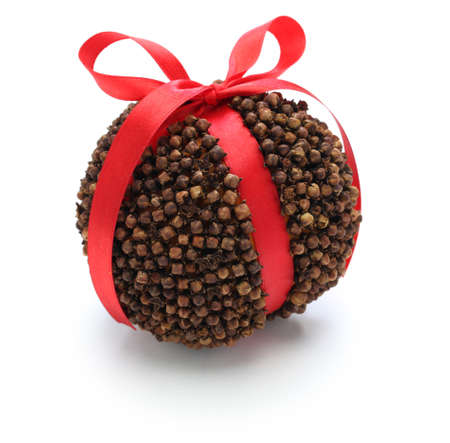scented: Spiced orange pomander ball, scented christmas decoration