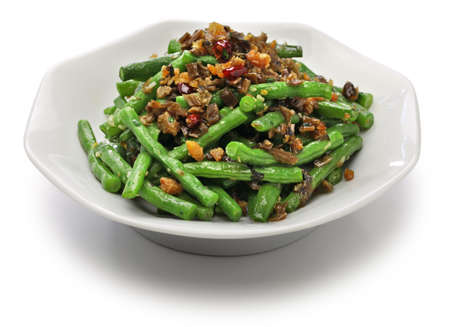 pickled: Gan bian dou jiao, dry fried green beans and chinese sichuan cuisine