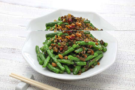Gan bian dou jiao, dry fried green beans and chinese sichuan cuisine