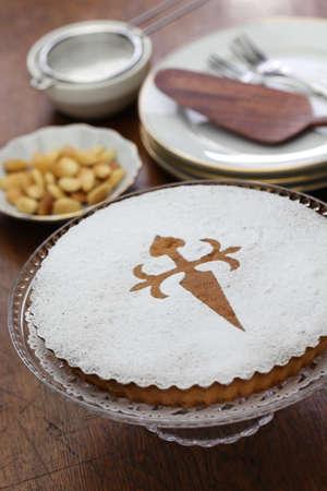TARTA de santiago, spanish almond cake Stock Photo
