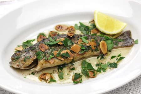 rainbow trout: Trout meuniere amandine, rainbow trout with brown butter and almonds