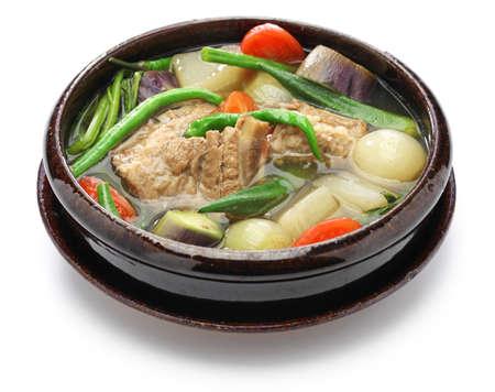 pot belly: sinigang na baboy (pork sinigang), filipino cuisine