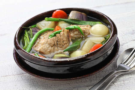 sinigang na baboy (pork sinigang), filipino cuisine