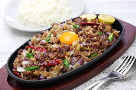 sizzling pork sisig, filipino cuisine