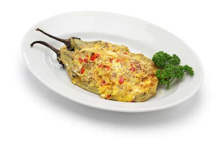 filipino people: tortang talong, eggplant omelet, filipino food Stock Photo