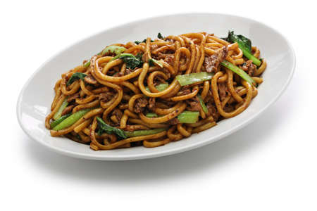 Shanghai fried noodle chow mein Shanghai, chinese food Standard-Bild