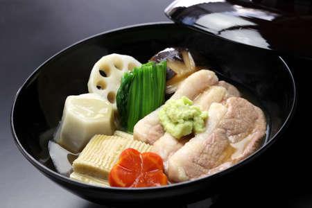Jibuni, Anazawa style duck meat stew, japanese cuisine Stock Photo