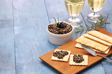 caper: black olive tapenade with crackers