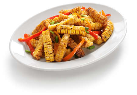 spicy cooking: Fried corn with salt & pepper, macao food Stock Photo
