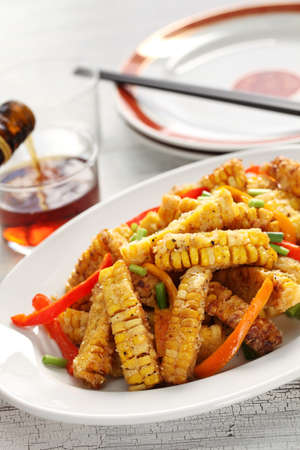Fried corn with salt & pepper, macao food Stock Photo