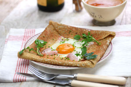 Galette sarrasin, buckwheat crepe, french brittany cuisine 스톡 콘텐츠