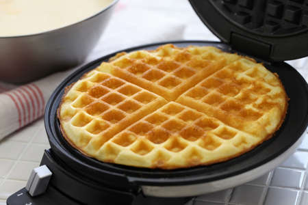 preparing homemade waffles