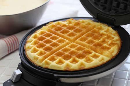 preparing homemade waffles
