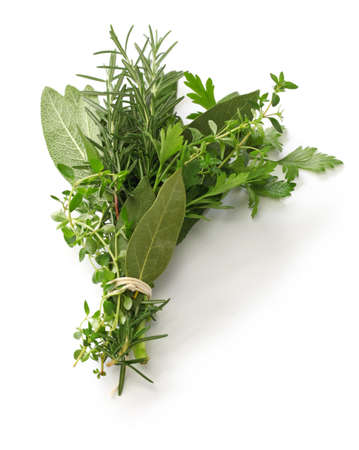 fresh bouquet garni, bunch of herbs isolated on white background Zdjęcie Seryjne - 79871184
