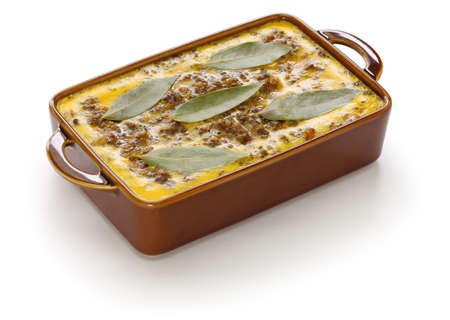 bobotie (the with baked egg on a curry flavored meatloaf top), south african cuisine isolated on white background