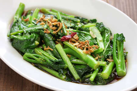 stir fried chinese kale (chinese broccoli) with oyster sauce