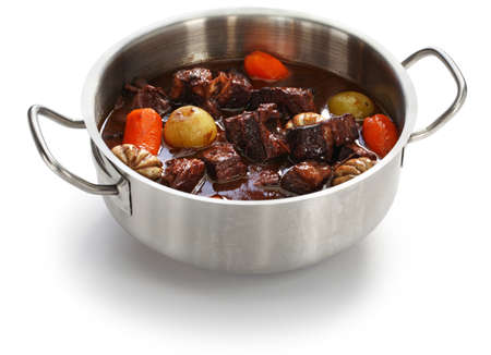 beef bourguignon, beef stewed in red wine, french burgundy cuisine
