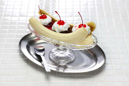 american dessert, homemade banana split sundae Stock Photo