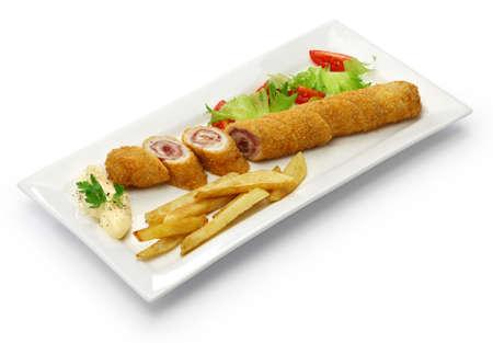 Flamenquin, deep fried long pork roulade, Spanish Cordoba cuisine isolated on white background
