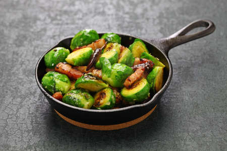 roasted brussels sprouts with bacon Stock Photo