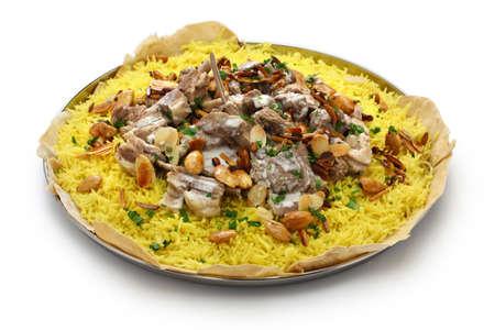 mansaf, Jordanian national dish isolated on white background