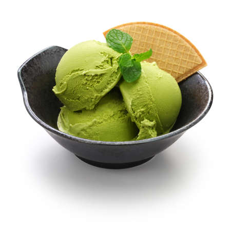 homemade matcha green tea ice cream, japanese dessert