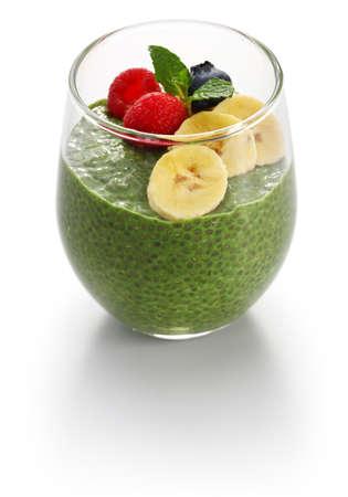 Homemade matcha green tea chia seed pudding, vegan dessert