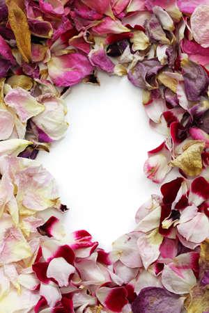 frame of homemade dried rose petals Stock Photo
