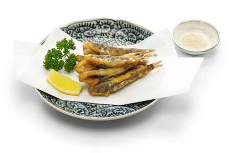 Japanese fried fish dish, Mehiari No Araage Stock Photo