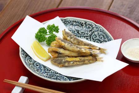 Japanese fried fish dish, Mehiari No Araage Foto de archivo