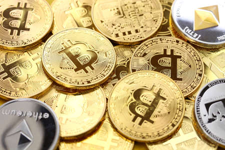 bitcoin, ethereum, litecoin, virtual currency, cryptocurrency Stock Photo