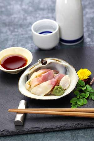 hokkigai (sakhalin surf clam) sashimi, japanese cuisine