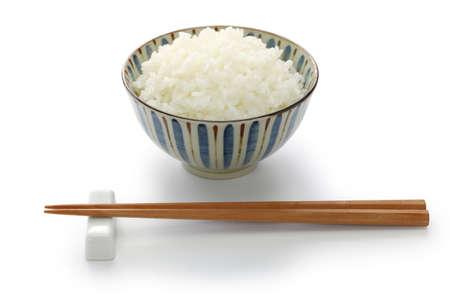 Gohan, japanese cooked white rice isolated on white background