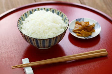 Gohan, japanese cooked white rice with pickled radish