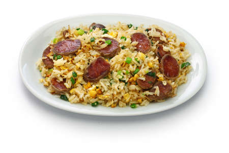 Chinese sausage fried rice, xiang chang chao fan isolated on white background