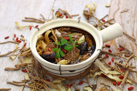 Malaysia bak kut teh, traditional chinese herbal pork ribs soup Foto de archivo