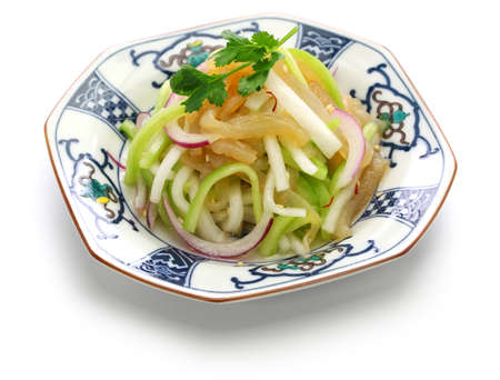 jellyfish salad, chinese cuisine, cold dish isolated on white background Stock Photo