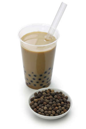 Taiwanese bubble tea and black tapioka balls
