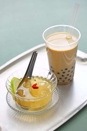 Taiwanese drink and dessert, aiyu jelly and bubble tea