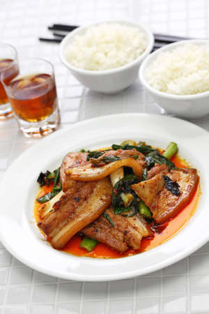 traditional twice cooked pork, Sichuan style chinese dish Stock Photo