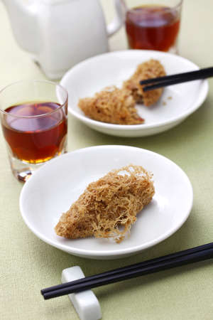 deep fried honeycomb taro dumplings, chinese dim sum and shaoxing wine