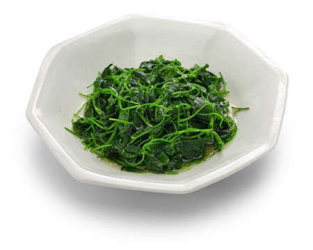 Chinese white wine stir fried with toothed bur clover, shanghai cuisine 版權商用圖片