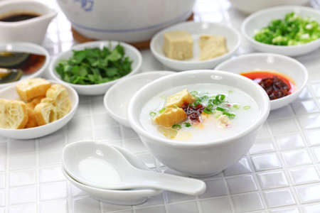 congee, chinese rice porridge, chinese traditional healthy breakfast Stok Fotoğraf