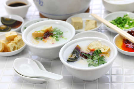 congee, chinese rice porridge, chinese traditional healthy breakfast Imagens