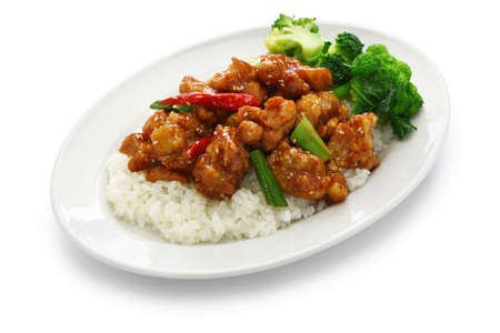General tso's chicken with rice, american chinese cuisine isolated on white background