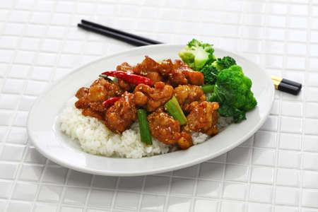 General tso's chicken, american chinese cuisine Stockfoto