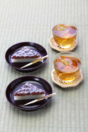 Japanese traditional sweet dessert served with barley tea and wagashi and mugicha