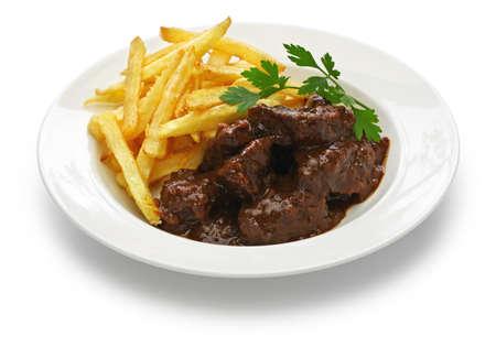 flemish beef stew, carbonade flamande and belgian cuisine 免版税图像