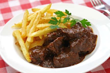flemish beef stew, carbonade flamande and belgian cuisine Stock Photo